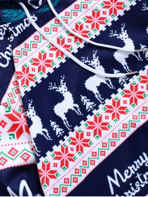 new Merry Christmas Elk Snowflake Graphic Drawstring Hoodie - MIDNIGHT BLUE L Mobile