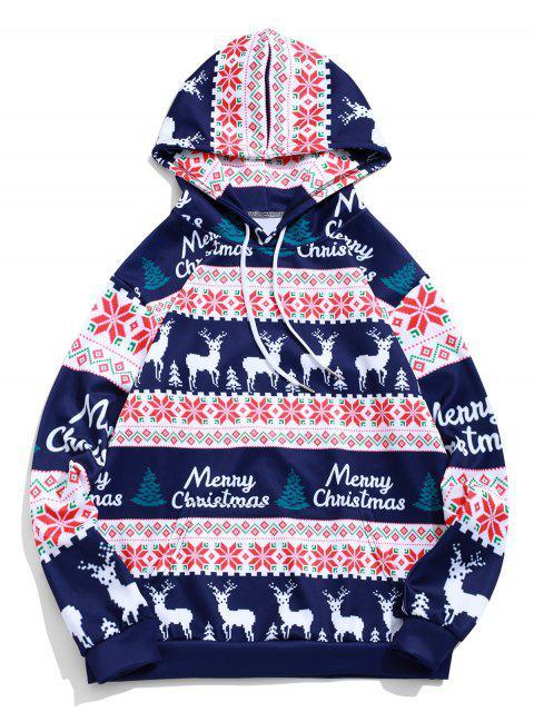 hot Merry Christmas Elk Snowflake Graphic Drawstring Hoodie - MIDNIGHT BLUE S Mobile