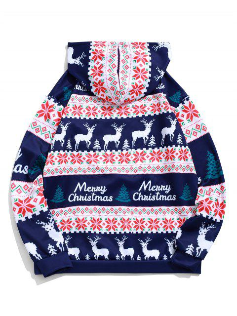 sale Merry Christmas Elk Snowflake Graphic Drawstring Hoodie - MIDNIGHT BLUE M Mobile