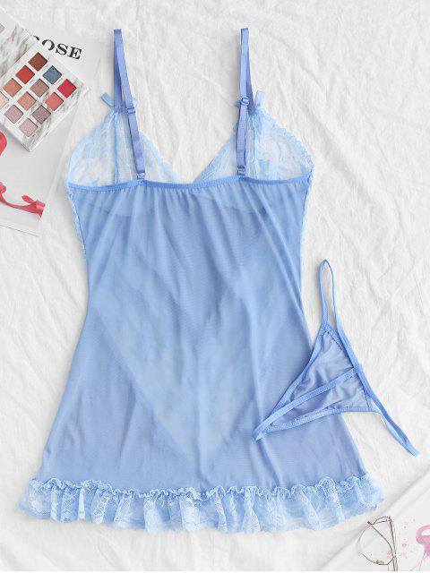 Robe Lingerie en Dentelle Insérée avec Nœud Papillon à Volants - Bleu de Ciel  M Mobile