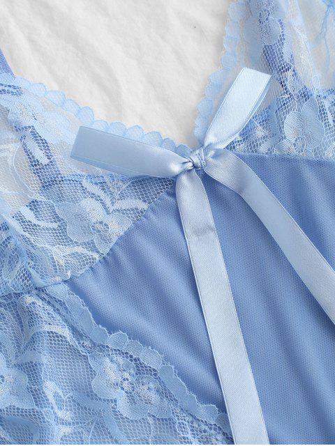 best Bowknot Lace Insert Frilled Lingerie Dress - DAY SKY BLUE S Mobile
