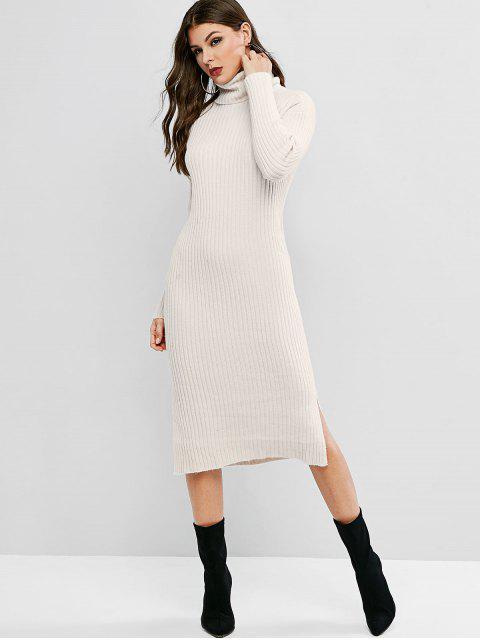 Robe Pull Fendue à Goutte Epaule à Col Roulé - Blanc Taille Unique Mobile