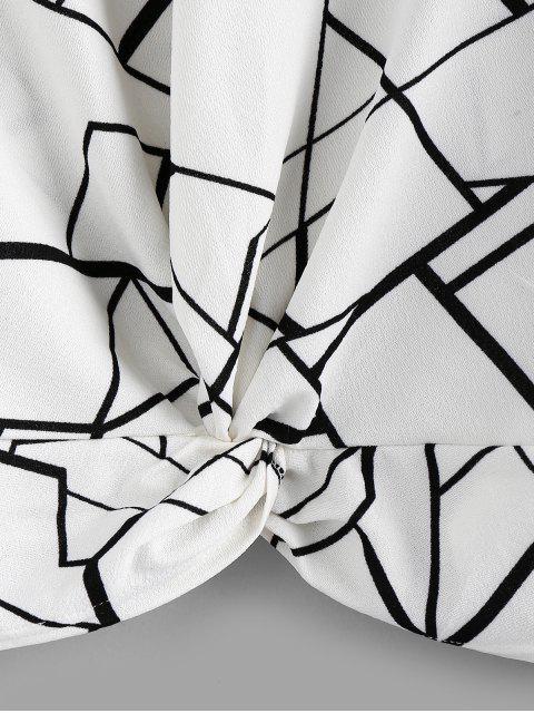chic ZAFUL Geo Print Twist-front Top - WHITE L Mobile