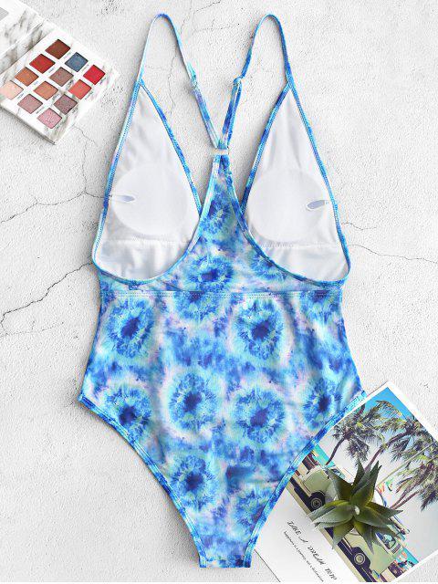 latest ZAFUL Plunge Tie Dye Mesh One-piece Swimsuit - DODGER BLUE XL Mobile