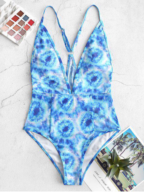 ZAFUL inmersión teñido anudado de malla de una sola pieza del traje de baño - Azul de Dodgers L Mobile