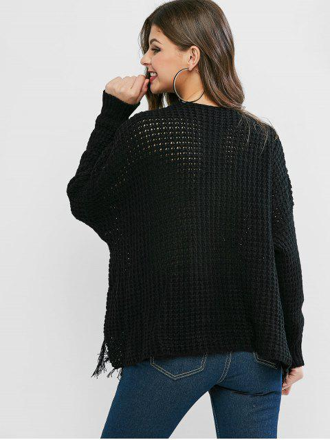 outfits Tassels Loose Knit High Low Sweater - BLACK ONE SIZE Mobile