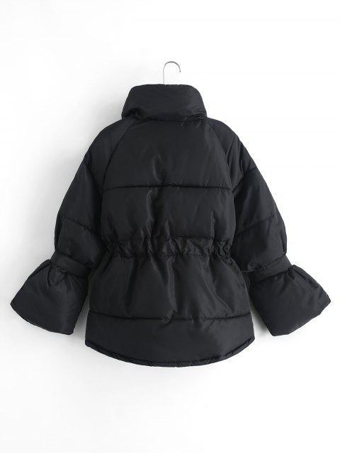 Vorhangschnur Taschen Reißverschluss Oben Taille Puffer Mantel - Schwarz XL Mobile