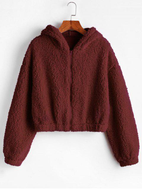 women ZAFUL Hooded Zip Up Fluffy Teddy Jacket - RED WINE M Mobile