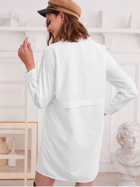 affordable Drop Shoulder Chest Pocket Tunic Shirt Dress - WHITE S Mobile