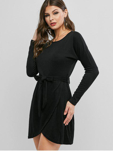 sale Drop Shoulder Belted Faux Wrap Dress - BLACK M Mobile