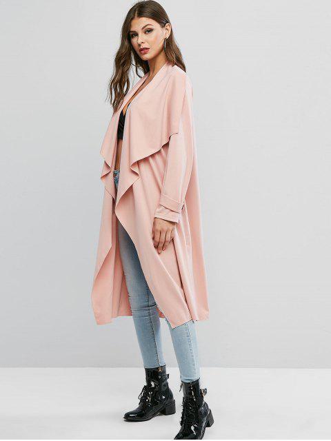 ZAFUL Manteau Ouvert en Couleur Unie avec Boutons - Rose Flamant M Mobile