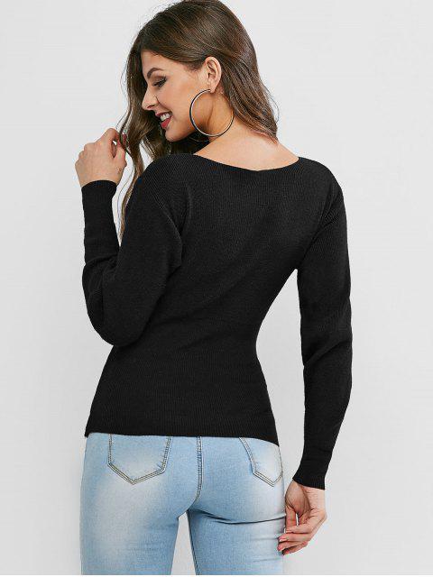 V cuello del suéter Sobrepelliz Solid - Negro Talla única Mobile