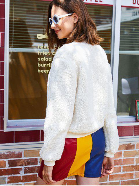 Flauschiges Sweatshirt mit Halbem Reißverschluss und Buchstabe Stickerei - Weiß 2XL Mobile
