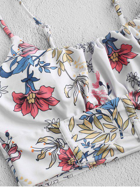 ZAFUL flor de talle alto Reunidos plaza delantera del traje de baño de Tankini - Amarillo Brillante M Mobile