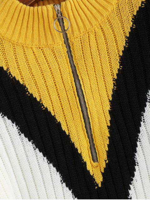 ZAFUL Farbblock Pull Ring Reißverschluss Scheinknopf Pullover - Multi L Mobile