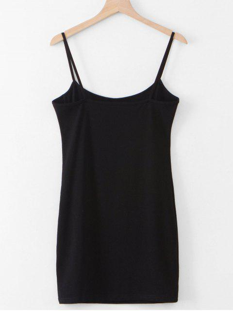 shops Slit Sheath Cami Dress - BLACK M Mobile