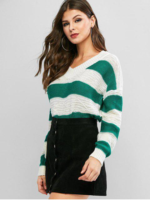Pullover mit V Ausschnitt und Farbblock - Multi-A Eine Größe Mobile