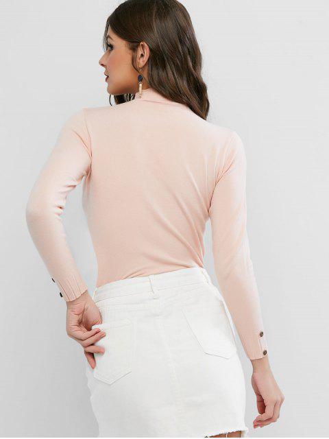 Stehkragen Einfacher Geknöpfter Dünner Pullover - Rosa Eine Größe Mobile