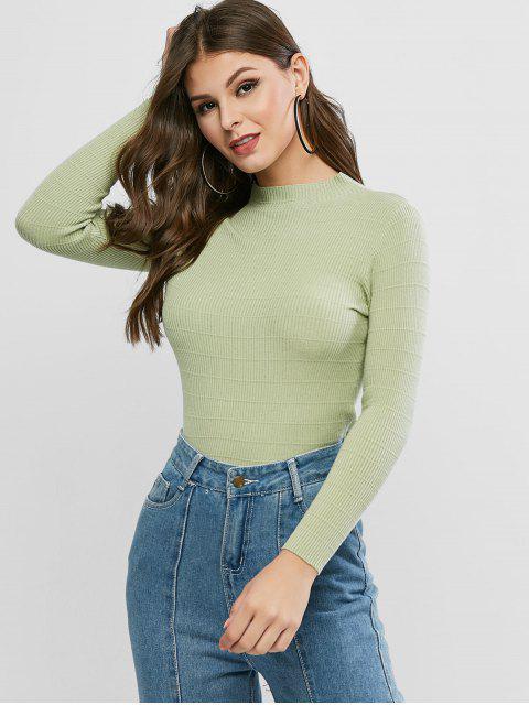 Grundlegende Pullover mit Mock Neck - Hellgrün Eine Größe Mobile
