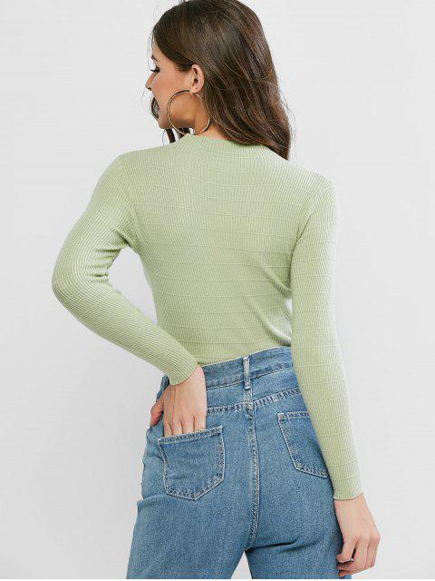 基本模擬領羊毛衫 - 淺綠色 One Size Mobile