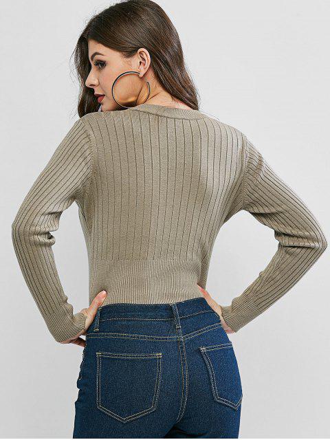 V-Ausschnitt Gerippte Strickjacke - Helles Khaki Eine Größe Mobile