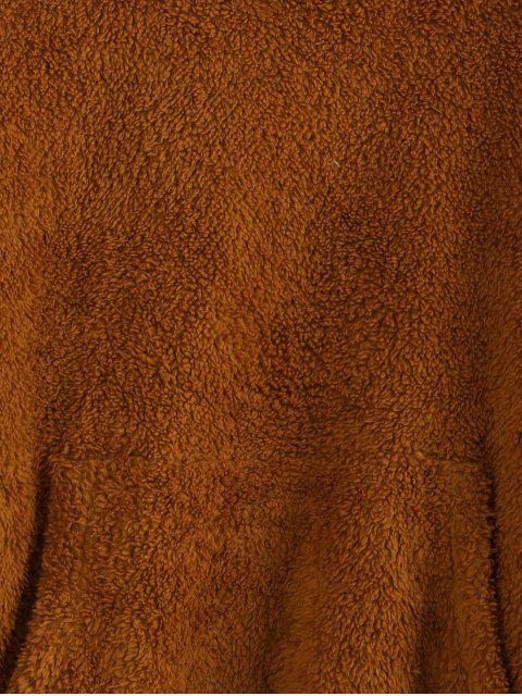 ZAFUL Tropfen Schulter Känguru-Tasche Teddy Hoodie - Braun XL Mobile