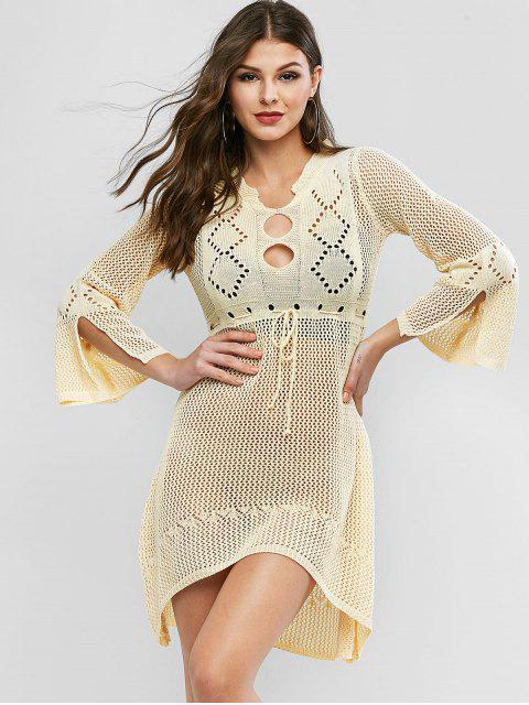 outfits Openwork High Low Bell Sleeves Sweater Dress - LEMON CHIFFON ONE SIZE Mobile