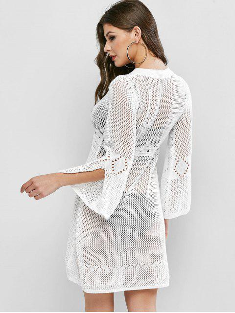 shop Openwork High Low Bell Sleeves Sweater Dress - WHITE ONE SIZE Mobile