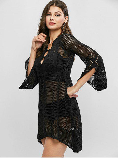 trendy Openwork High Low Bell Sleeves Sweater Dress - BLACK ONE SIZE Mobile