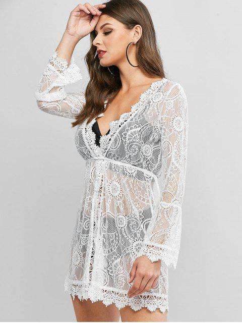 buy Flare Sleeves Lace Beach Dress - WHITE ONE SIZE Mobile