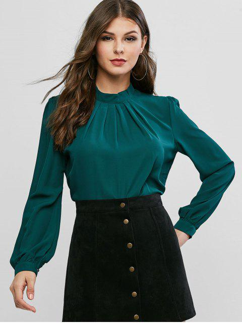 fancy Plain Keyhole Back Crew Neck Pleated Blouse - GREEN M Mobile