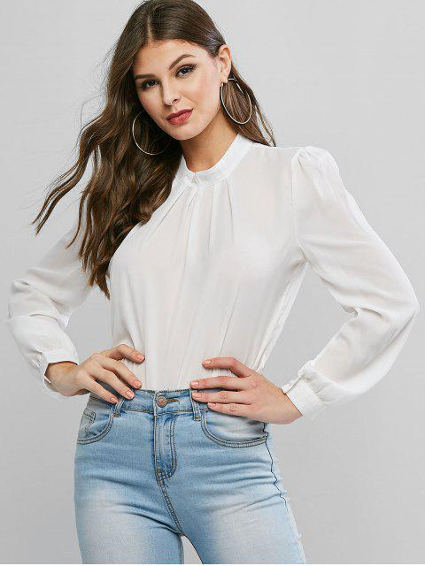 unique Plain Keyhole Back Crew Neck Pleated Blouse - WHITE M Mobile