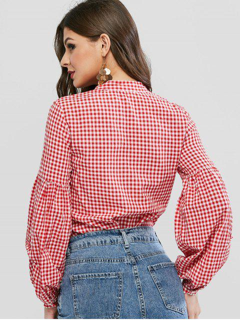 outfits Gingham Lantern Sleeve V Neck Blouse - RED L Mobile