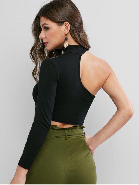 fashion One Shoulder Zipper Crop Tee - BLACK L Mobile