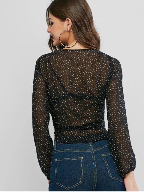 affordable Arrowhead Print Semi Sheer Wrap Blouse - BLACK S Mobile