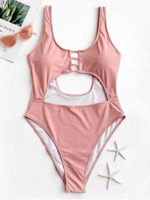 womens ZAFUL Ladder Cut Cutout Backless One-piece Swimsuit - LIGHT PINK XL Mobile
