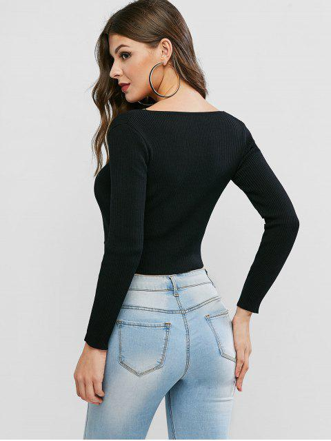 women U Neck Buttons Cropped Cardigan - BLACK ONE SIZE Mobile