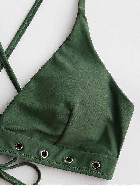 ZAFUL Bikini de Corte Alto con Cordones - Verde Marrón Claro S Mobile