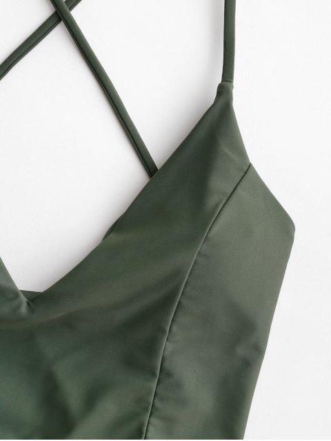 hot ZAFUL Crisscross Lace-up Cropped Bikini Top - CAMOUFLAGE GREEN M Mobile