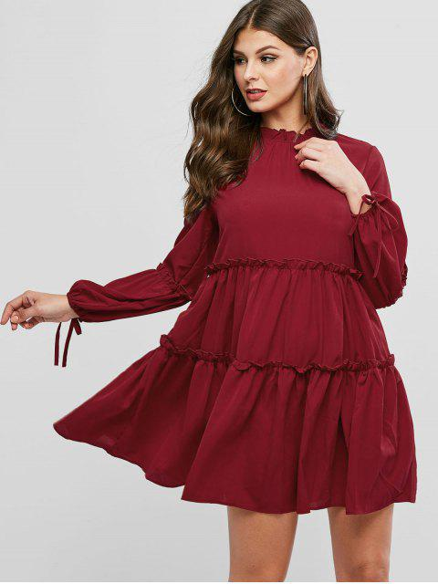 outfit Ruff Collar Frilled Long Sleeve Tie Dress - RED WINE L Mobile