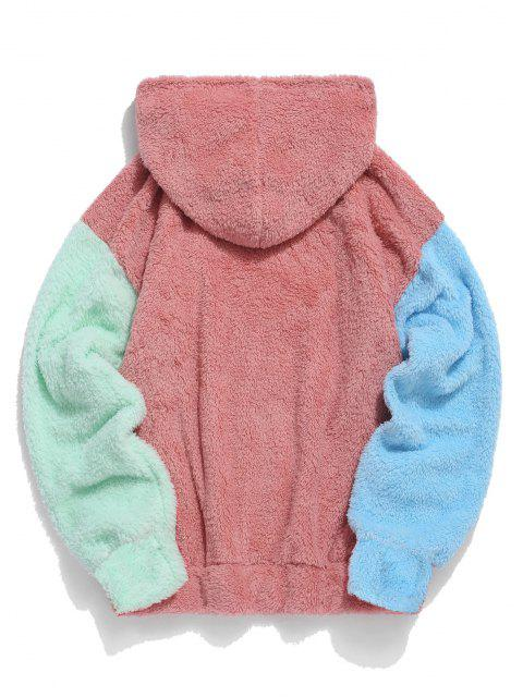 lady ZAFUL Color-blocking Splicing Fuzzy Pullover Hoodie - LIGHT CORAL S Mobile