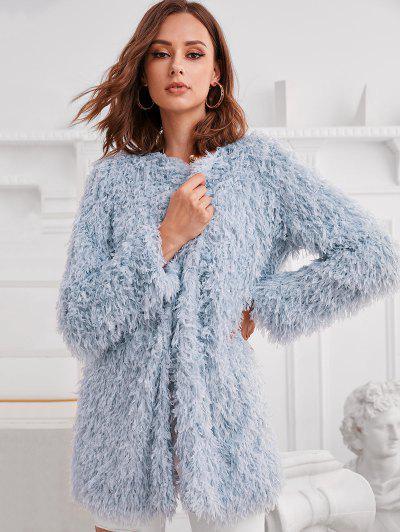 ZAFUL Longline Open Front Fuzzy Fringed Coat - Blue M