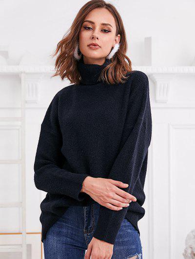 Turtleneck Drop Shoulder Loose Plain Sweater - Black