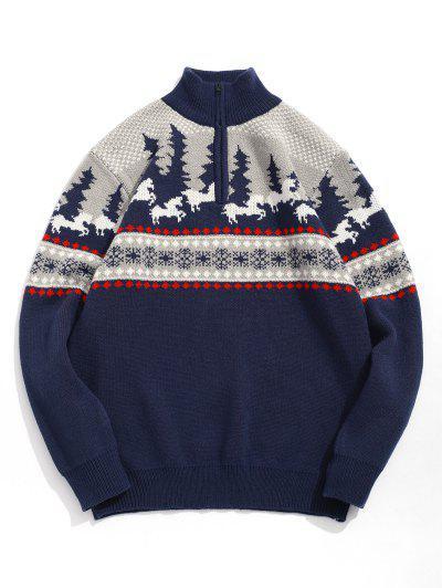 Cartoon Pattern Christmas Sweater - Cadetblue Xl