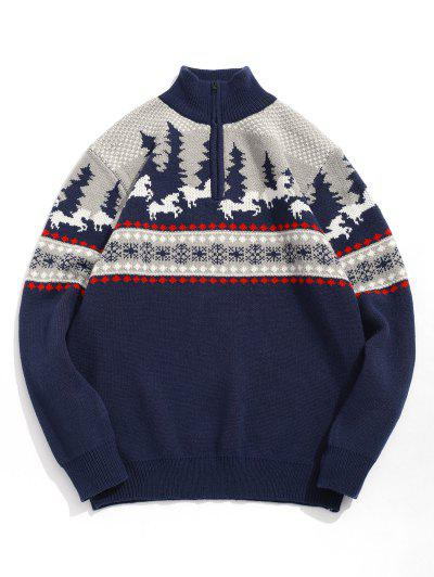 Cartoon Pattern Christmas Sweater - Cadetblue L