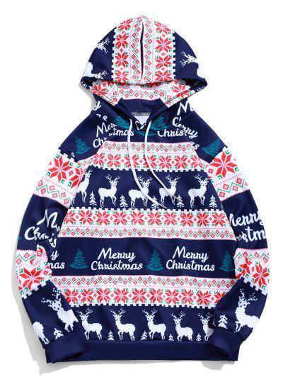 Merry Christmas Elk Snowflake Graphic Drawstring Hoodie - Midnight Blue 3xl