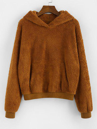 ZAFUL Drop Shoulder Kangaroo Pocket Teddy Hoodie - Brown S