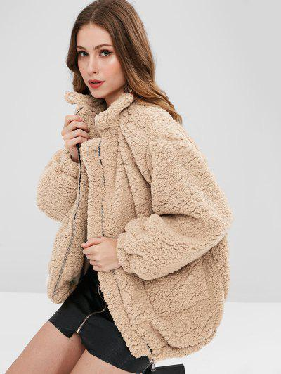 Slip Pockets Faux Fur Teddy Coat - Apricot S