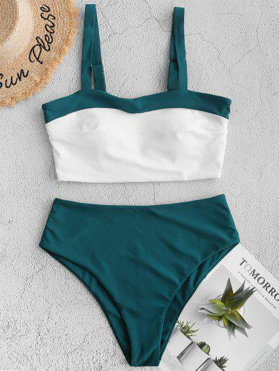 ZAFUL Two Tone High Cut Tankini Swimsuit - Greenish Blue M