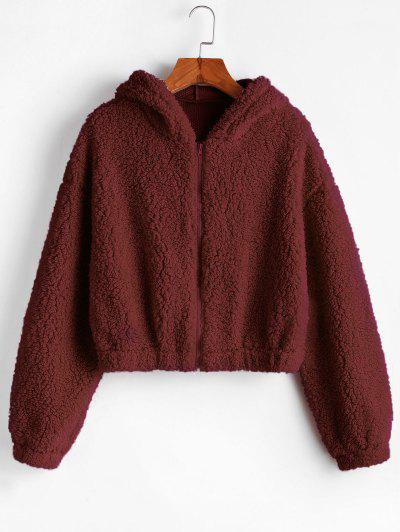 ZAFUL Hooded Zip Up Fluffy Teddy Jacket - Red Wine L